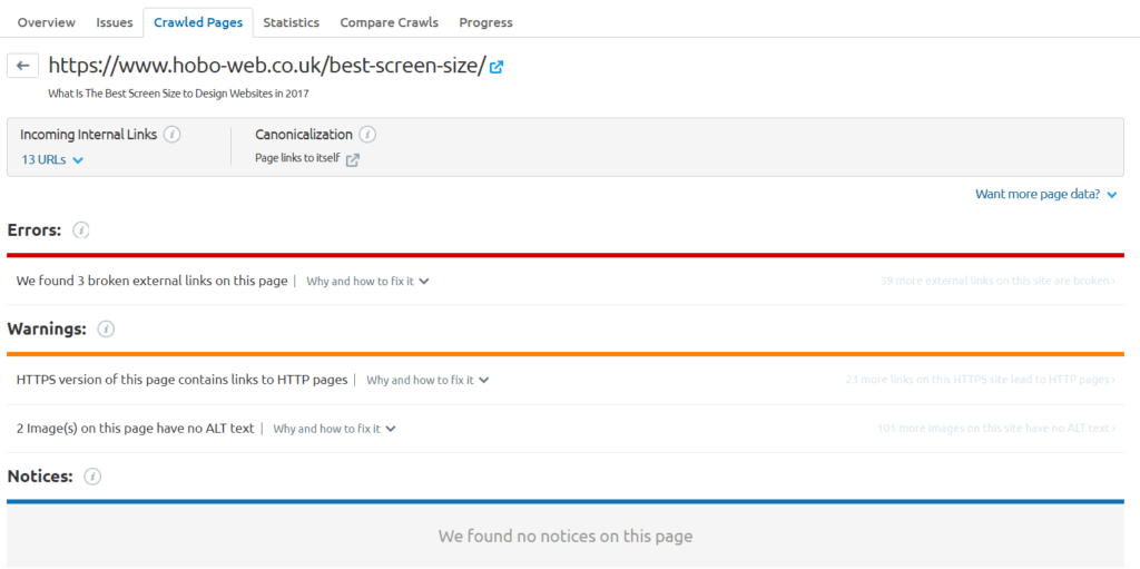 Check for individual page reports of semrush