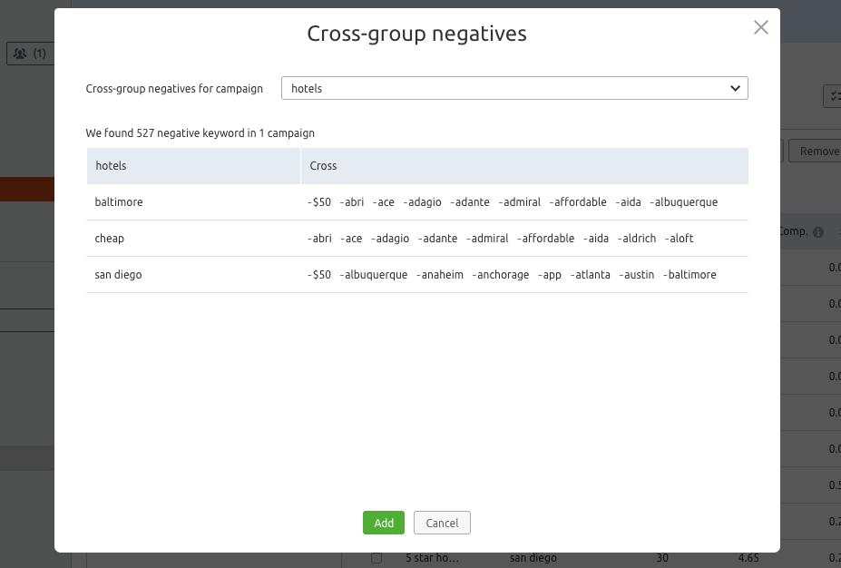 Cross-group negatives