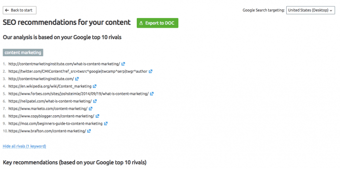 Next Step of SEMrush SEO content template