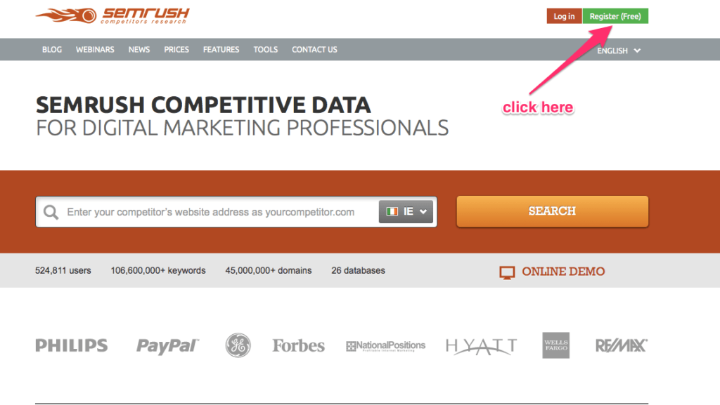SEMrush register for free