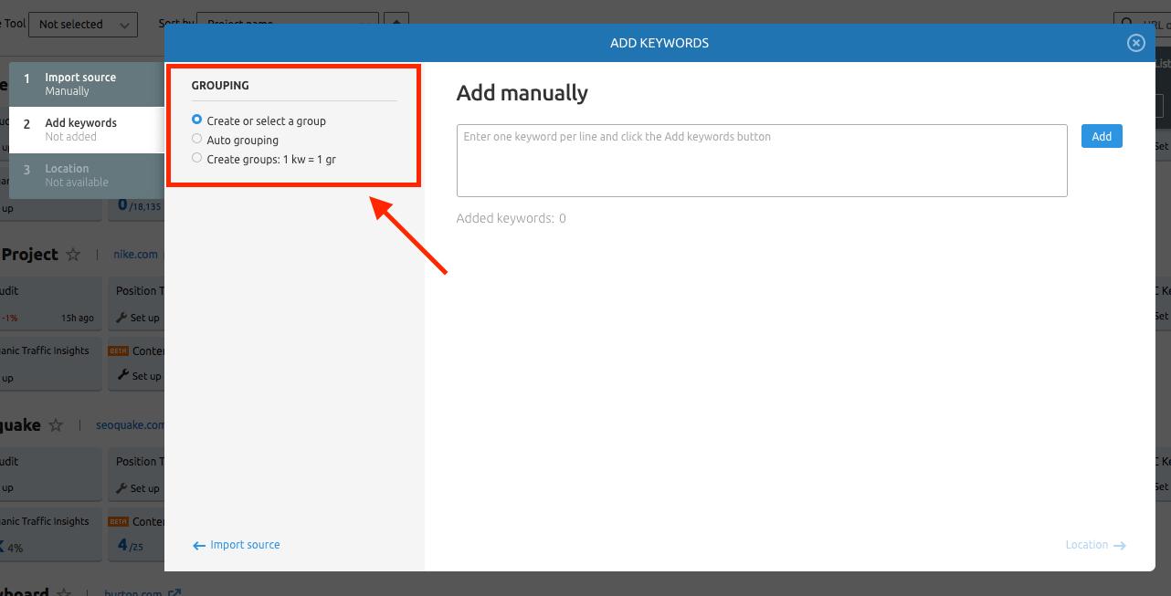 PPC Keyword Tool Configuring Groups