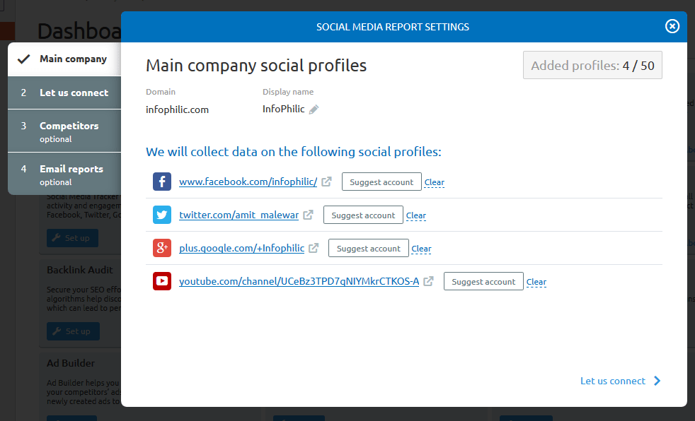social media report settings semrush