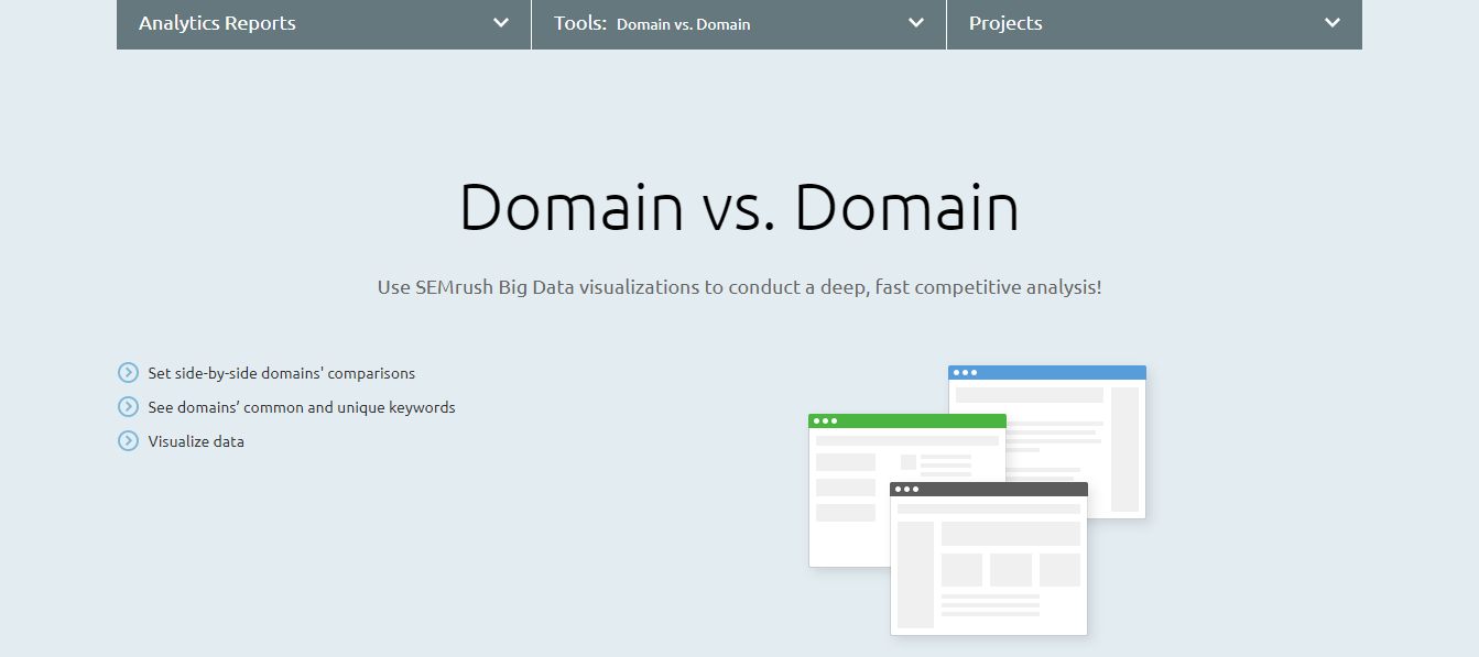 SEMrush Review For Domain vs Domain Comparison.