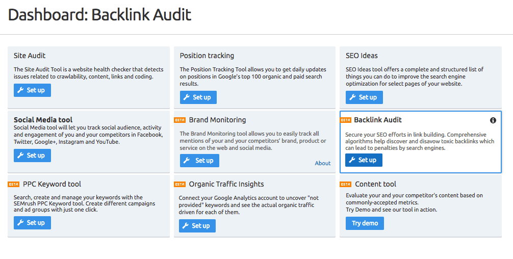 SEMrush Dashboard for wedding photography backlinks