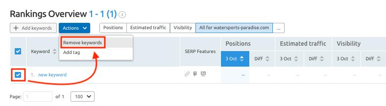 SEMrush Review for-position-tracking-delete-keywords