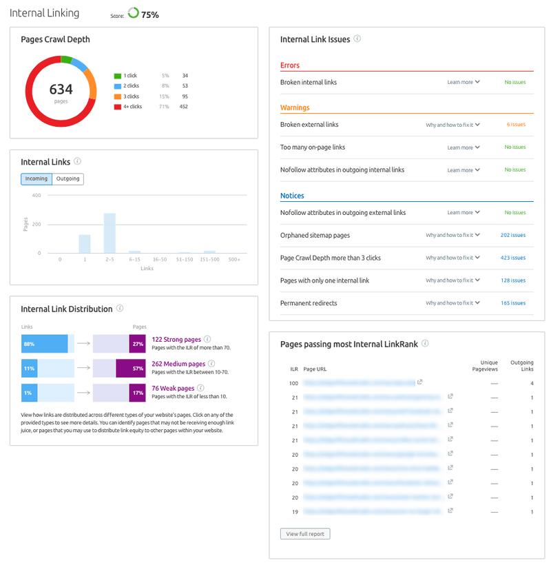 SEMrush Review for-site-audit-internal-linking-report