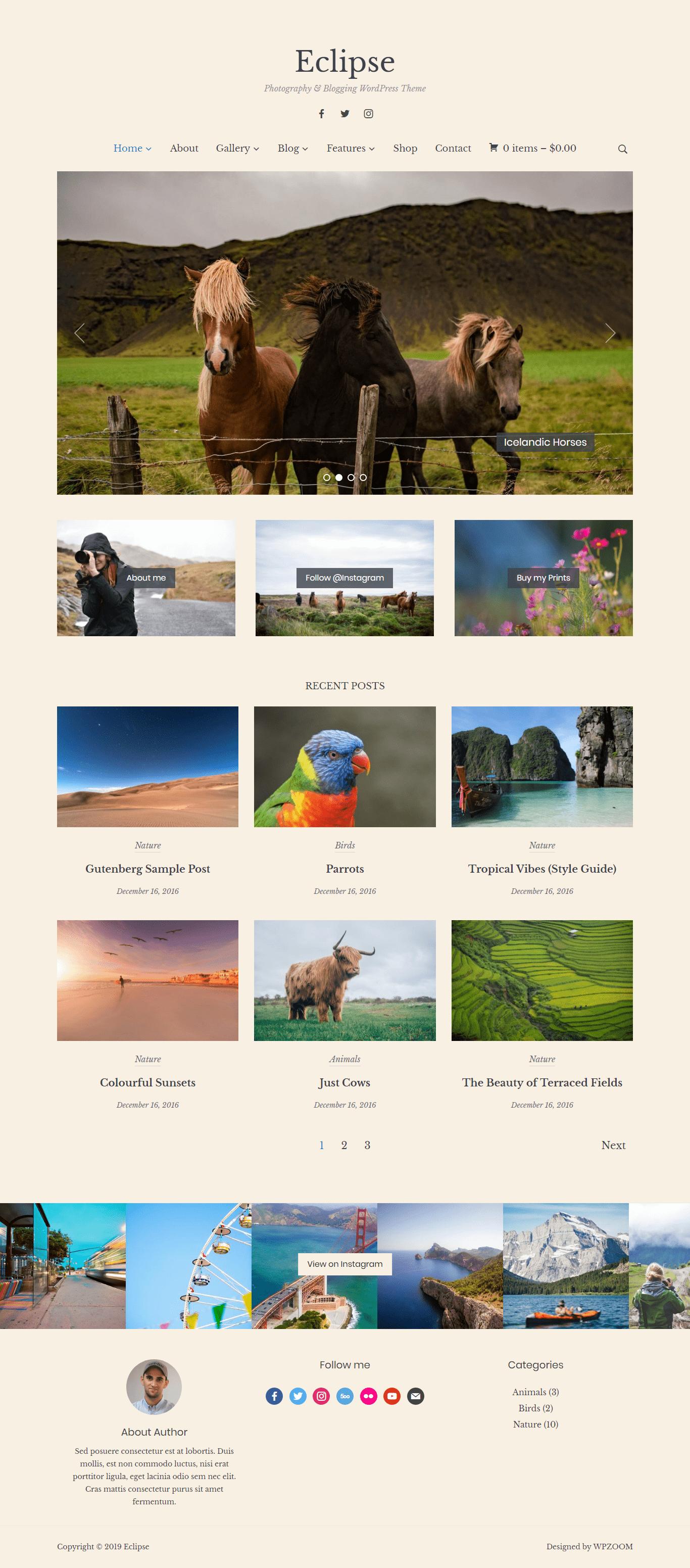 Eclipse- Elegant Photography and Blogging WordPress Theme