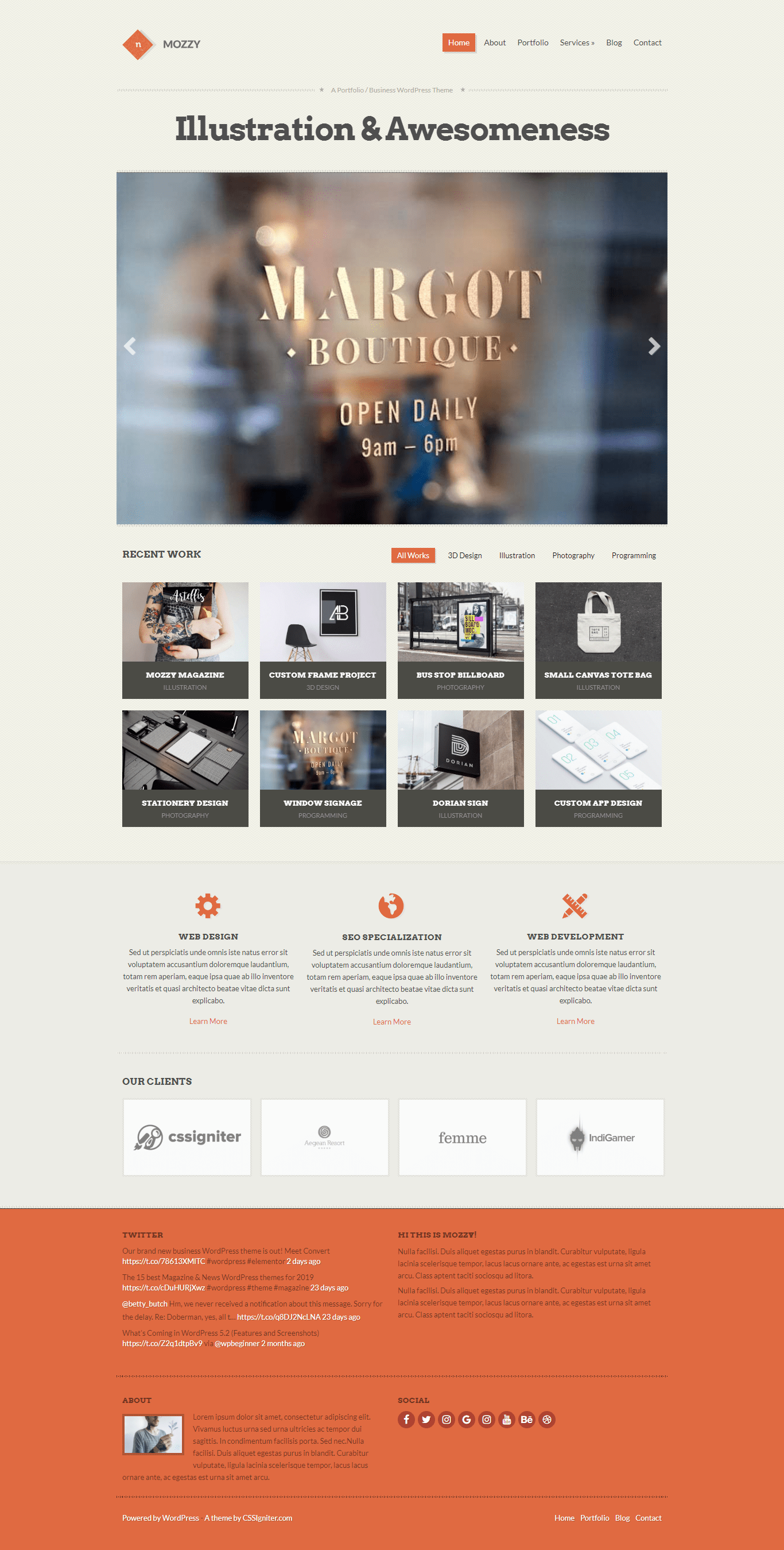 Mozzy - Perfect WordPress Theme for photography website
