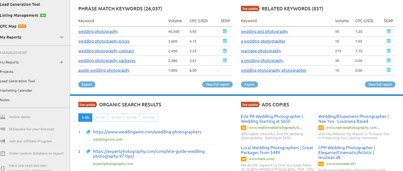 SEMrush to find best keywords for seo wedding photography