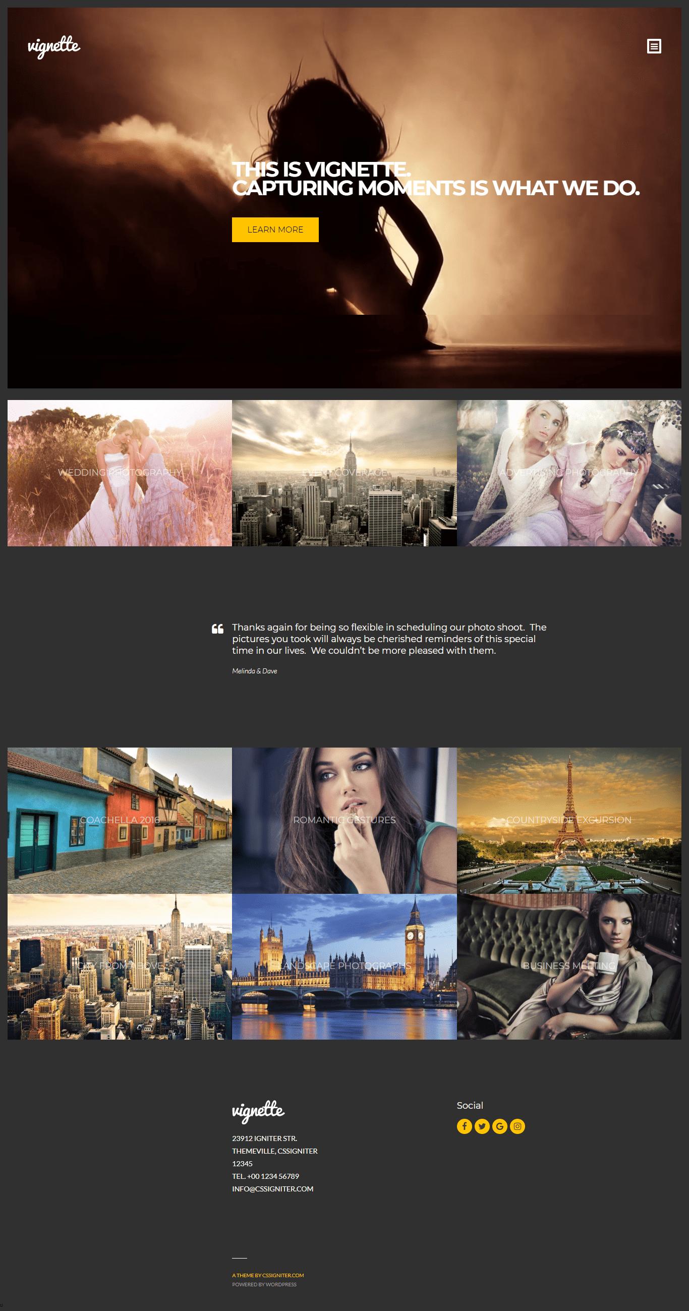 Vignette- Portfolio WordPress Theme for inspirational photography website