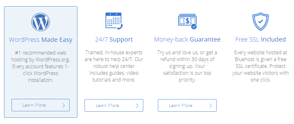 BLUEHOST features offer