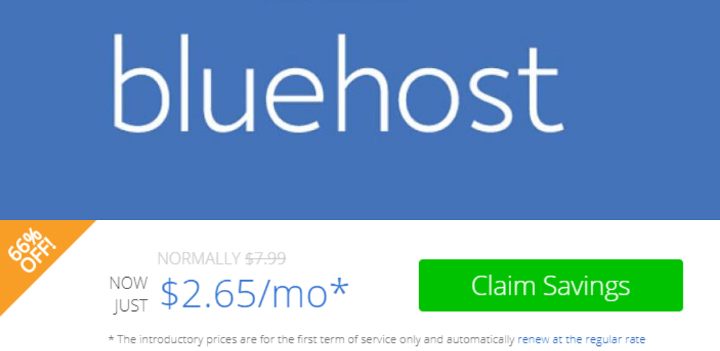 BLUEHOST 66% OFF on longer plan today!