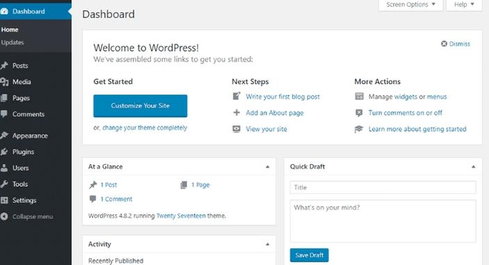 WordPress dashboard on your blog domain