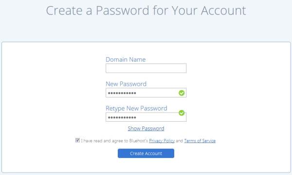bluehost-account-password