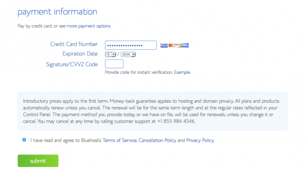 ENTER YOUR PAYMENT Details For Bluehost Hosting