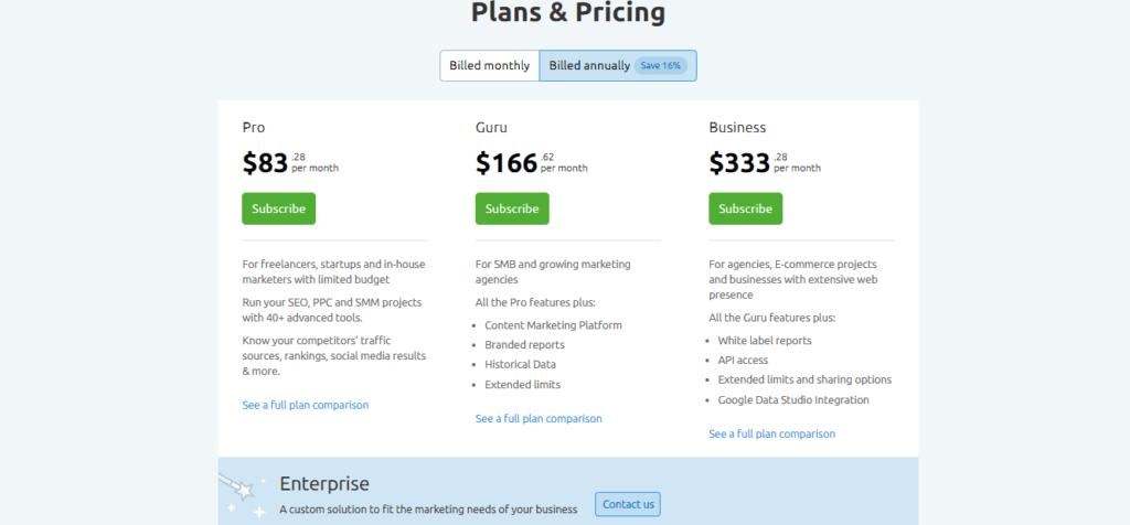 SEMrush-annually-billing-plans