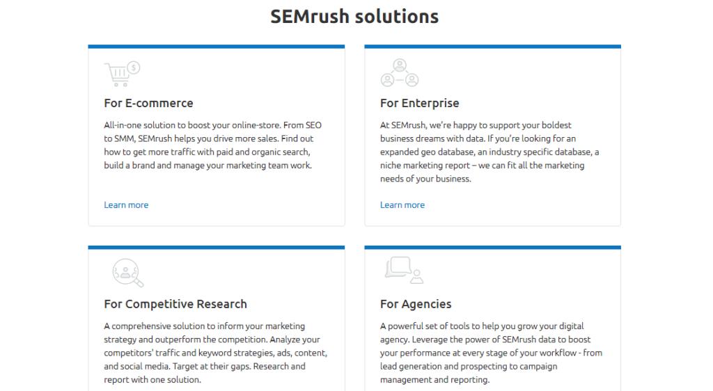 SEMrush Solutions for Agencies, Ecommerce