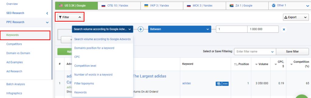 Serpstat Keyword Research Filters