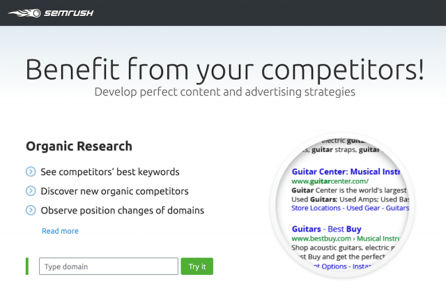Spy your competitors with SEMrush